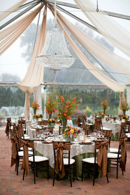 tented fall wedding with chandeliers