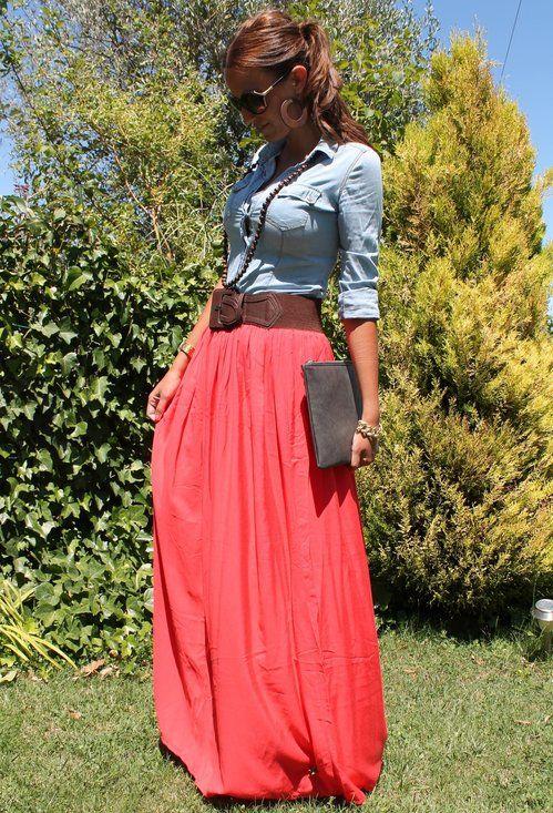 Long skirt, belt & chambray shirt