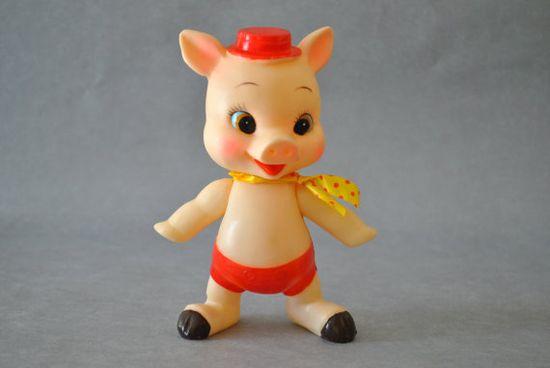 Vintage 1950s Vinyl Pig Squeak Toy