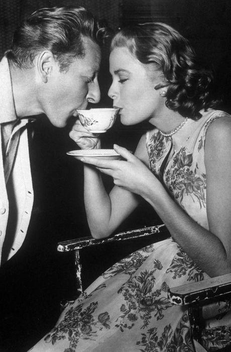 Grace Kelly & Danny Kaye sharing a cup of tea