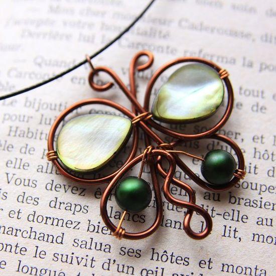 green bead copper wire butterfly pendant