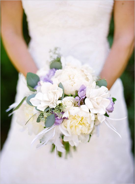 Lavender and cream wedding bouquet