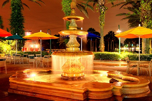 One of the fountains at Disneys Caribbean Beach Resort by pxlbarrel2007, via Flickr
