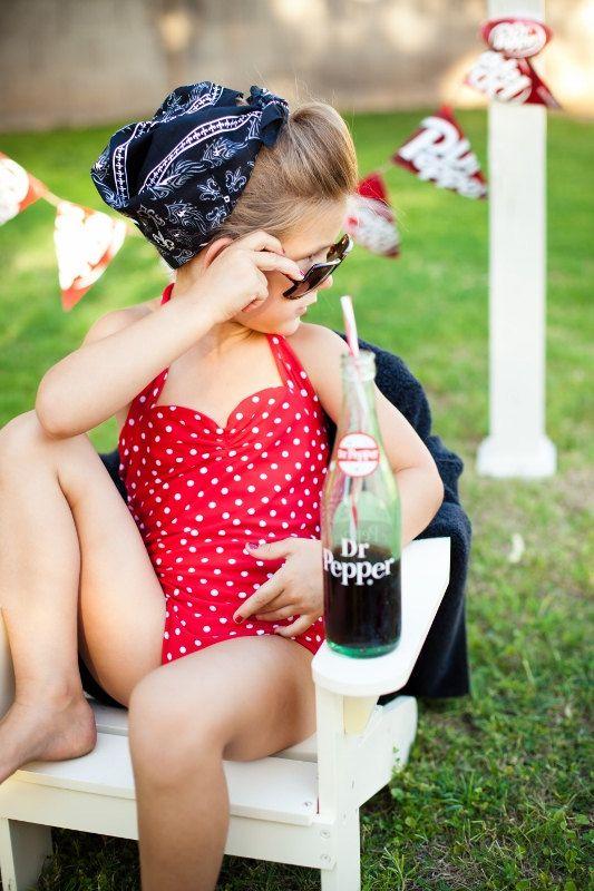 Red and white polka dot Retro one piece girls by RedDollyGirls, $38.00
