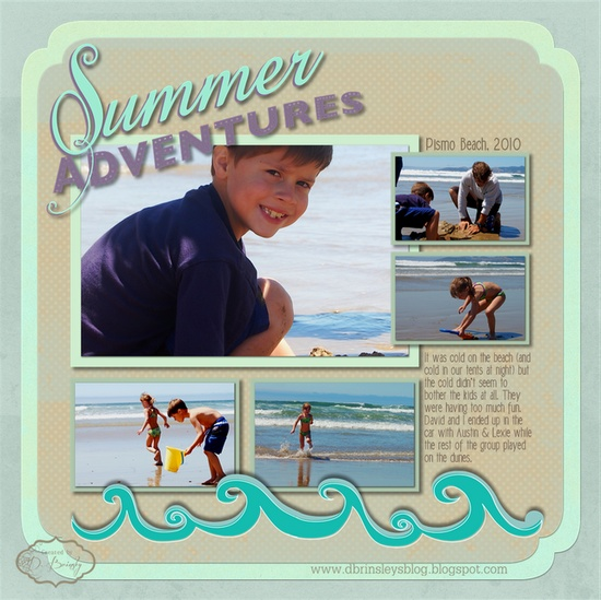 D. Brinsley's Memory Keeping blog: Summer Adventures Digital Scrapbooking Layout Idea