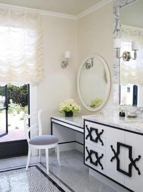 black white tile and vanity designed by jamie herzlinger glamorous-bathroom interior design