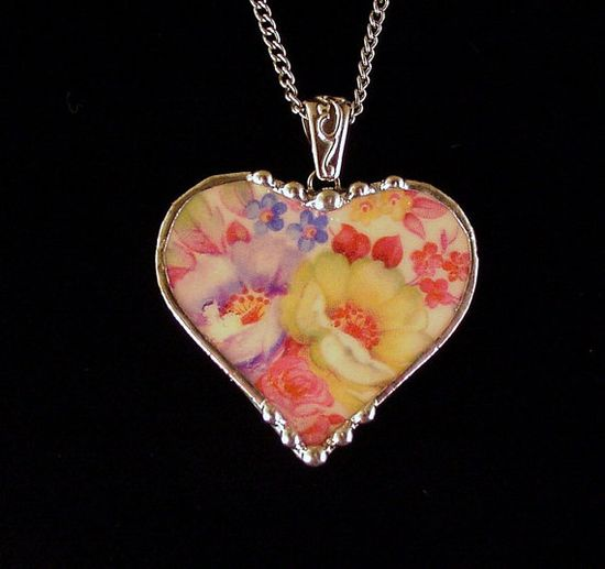 Broken china jewelry heart necklace pendant poppy rose floral vintage china