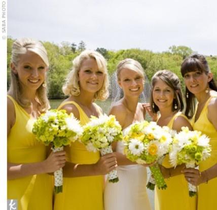 Yellow Bridesmaid Dresses – yellow white flowers