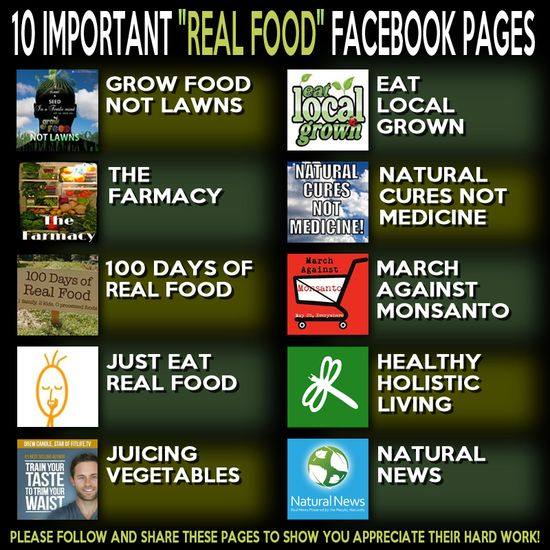 10 Important #RealFood Facebook Pages. Click for links....