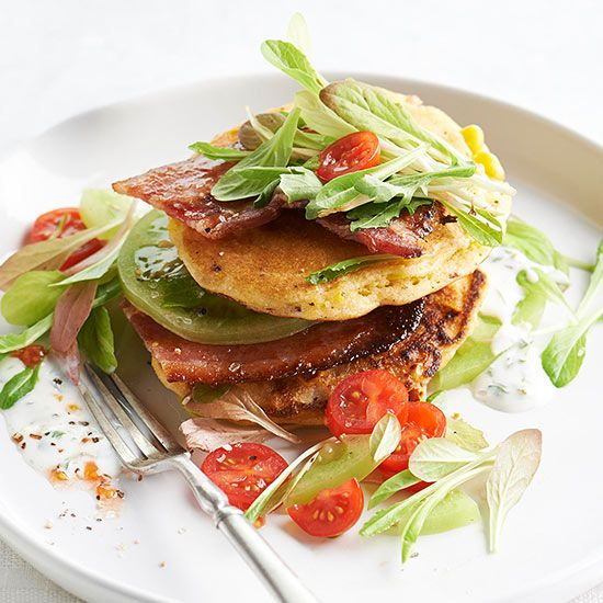 BLT Corn Cakes with Buttermilk Dressing - kind of like breakfast for dinner. Check out more new recipes from BHG Magazine here: www.bhg.com/...