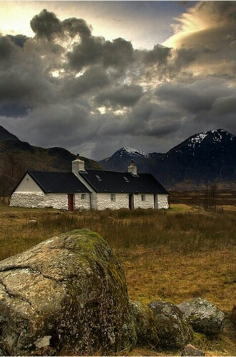 Scotland cottage at Glencoe (I have this in a crewelled wallhanging, from Scotland)