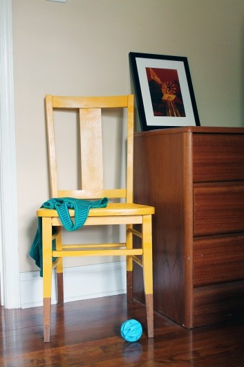 diy dipped yellow chair