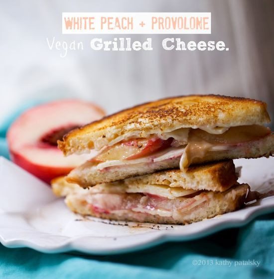 Peach-Provolone Grilled Cheese #vegan #sandwich #recipe