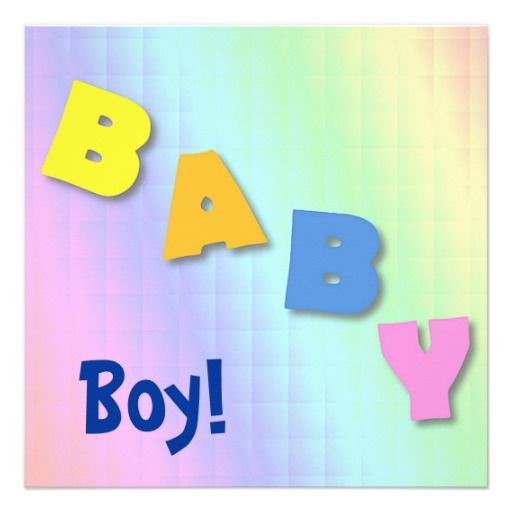 BABY Boy Photo Birth Announcement Card