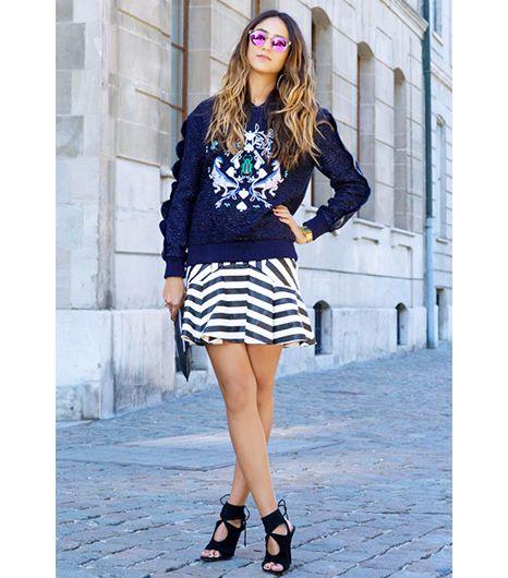 sweatshirt & skirt.