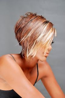 Short Hair Styles - I like the short back with longer sides, not the color.