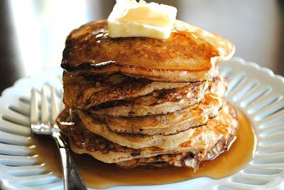 Oatmeal Cookie Pancakes- our family's FAVORITE #pancake recipe! #breakfast www.shugarysweets...