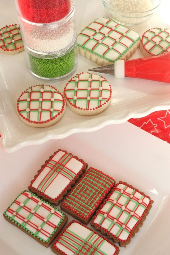 christmas line cookies decorated