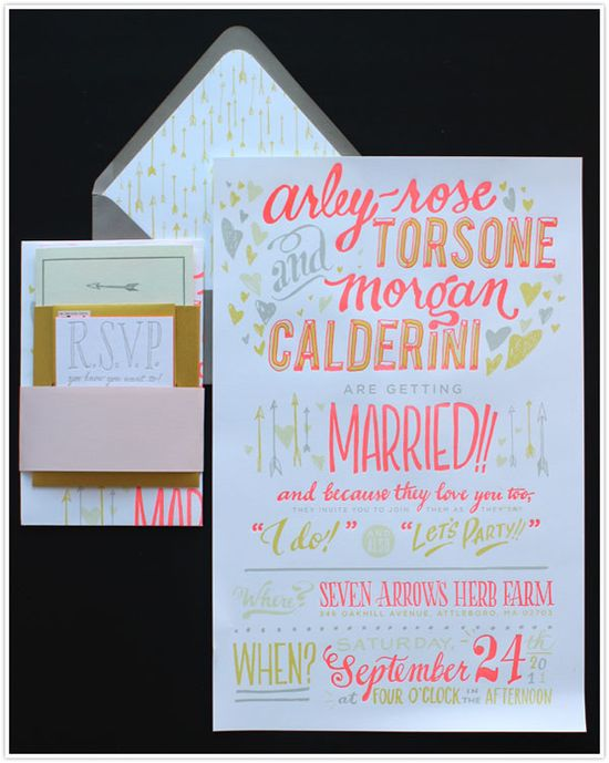 Hand drawn letterpress wedding invitation suite by ladyfingers letterpress #neon