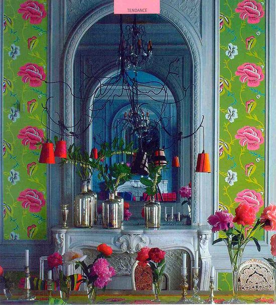 Funky green designers guild wallpaper