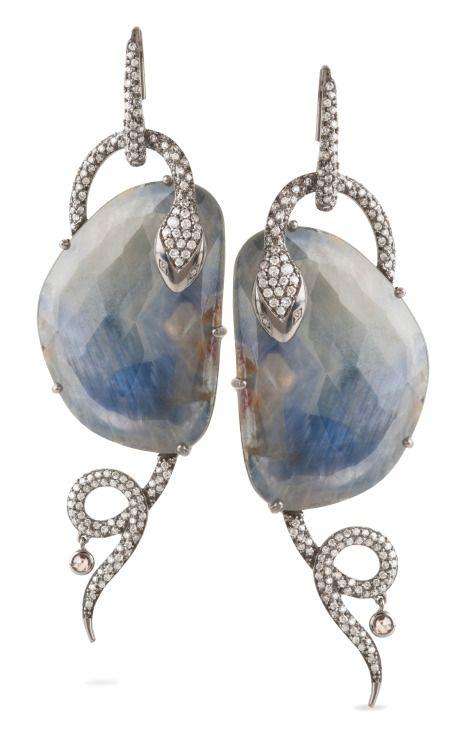 Blue Sapphire Serpent Earrings