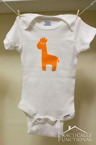 Virtual Baby Shower: DIY Baby Animal Graphic Onesies - Orange giraffe