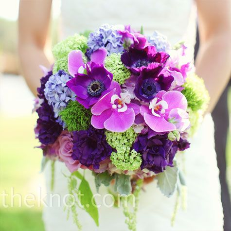 Purple & green wedding bouquet