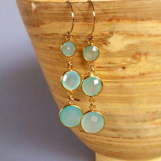 Aqua Chalcedony Earrings chandelier earrings beach by AinaKai