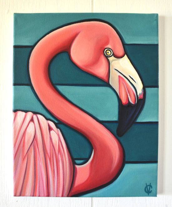 Original Flamingo Painting by Carin Vaughn 11x14 by CarinVaughnArt, $200.00