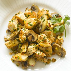 spicy chicken & mushrooms.... ----This recipe is for those who prefer a little heat in their main dish. Garlic, ginger, and red pepper flakes add an interesting combination of flavors to this 30-minute recipe.