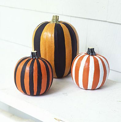 DIY Painted Striped Pumpkin