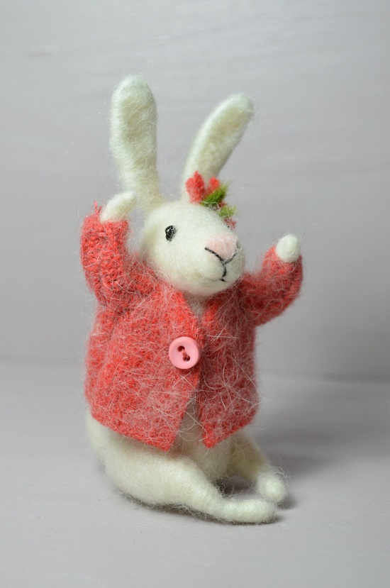 Little Bunny with recycled beatle - unique - needle felted ornament animal, felting dreams by johana