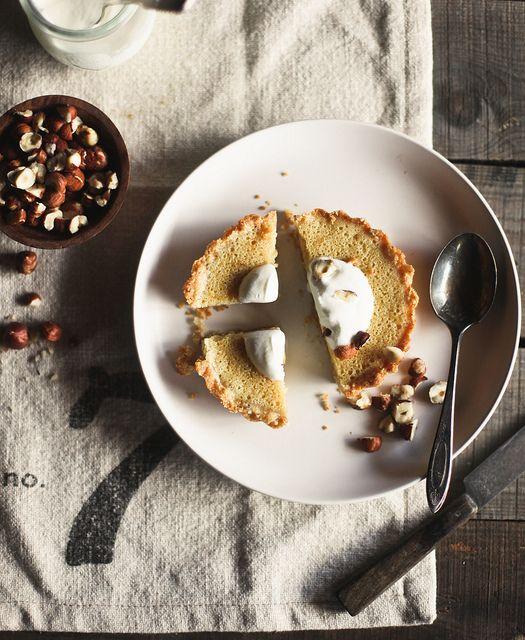 maple buttermilk tart with hazelnut crust
