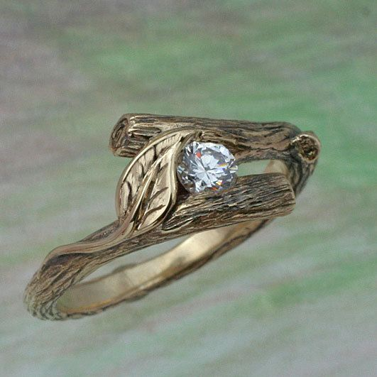 KIJANI in 14k gold with NATURAL DIAMOND, Ideal Cut, Engagement ring. $1,430.00, via Etsy.