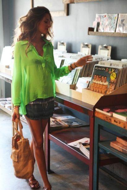 I love the neon blouse & jean skirt!! Cute hair too.