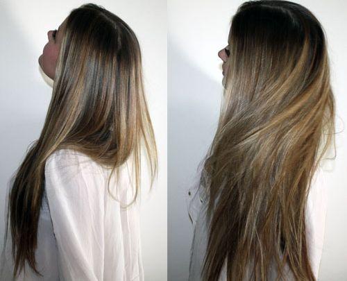 Long, natural color, hair