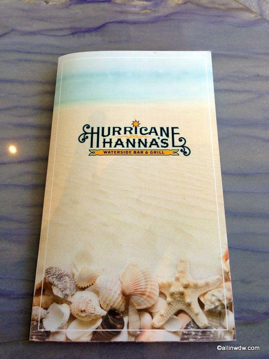 Hurricane Hanna's Pool Bar and Grill Menu! Yacht and Beach Club Resort, Disney World