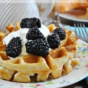 Fluffy Belgian Waffles Recipe. First recipe I tried for my new waffle maker. My hubbie loved them. I didn't have any fresh fruit but served them with a choice of fresh whipped cream, honey cinnamon butter, and warm syrup. Yum!!