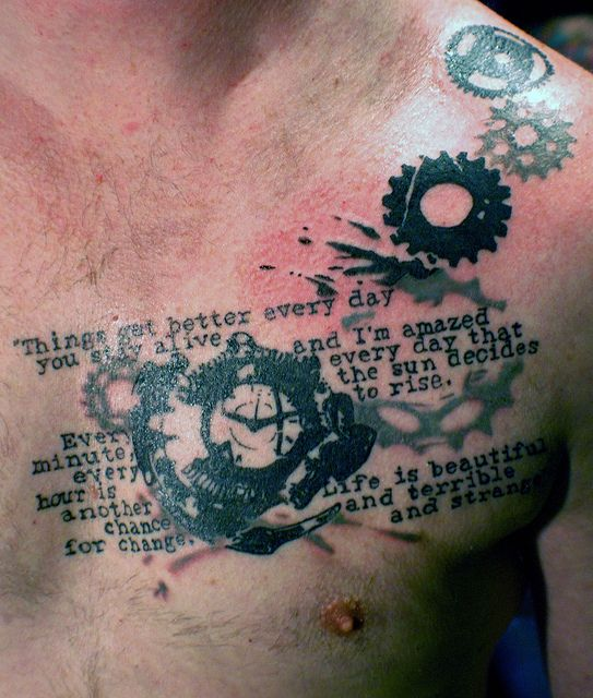 awesome tattoo pics chest clock gear text tattoo. Black Bedroom Furniture Sets. Home Design Ideas