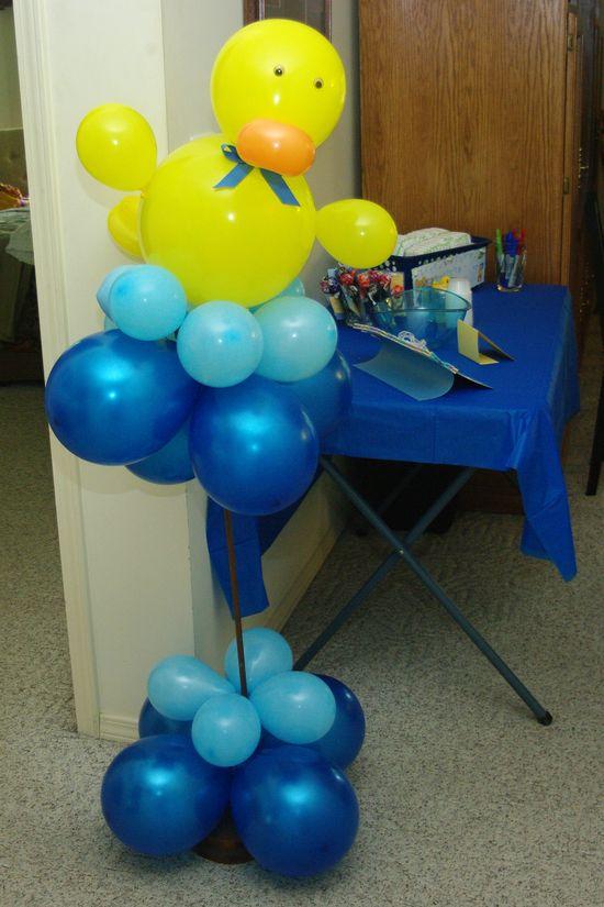 adorable duck balloon for baby boy shower