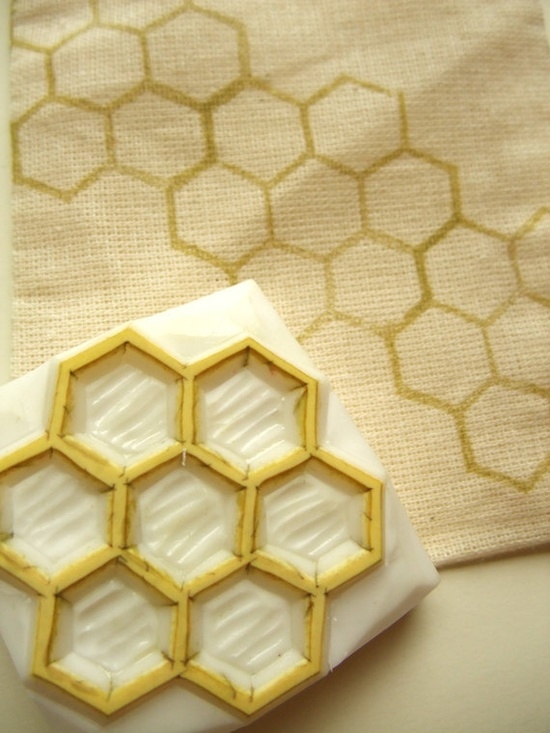 hand carved rubber stamp  geometric  beehive  by talktothesun, $12.00