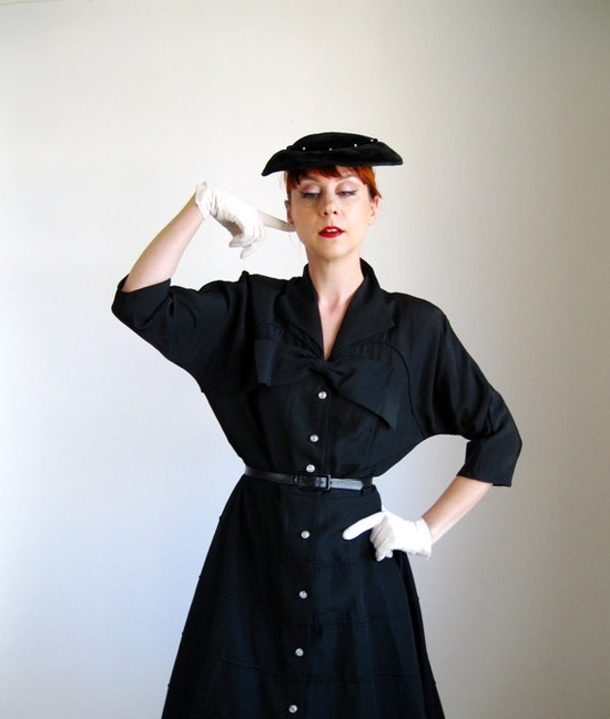 Dressed up / 1950s Dress. Black. New Look. Mad Men Office Fashion ...