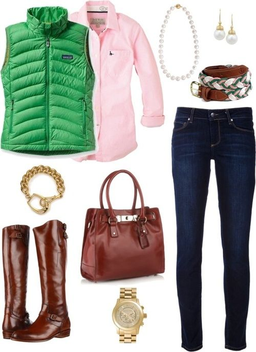 preppy outfit with pink and green, this I have everything in my closet!
