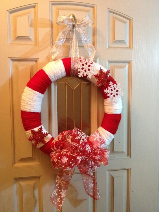 Christmas Yarn Wreath. $35.00, via Etsy.