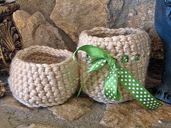 Crochet Baskets Crochet Bowl Tan with Green by HandmadeByAnnabelle