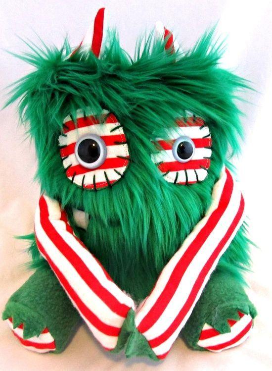 Plush Christmas Monster MERRY handmade plushie doll stuffed animal one of