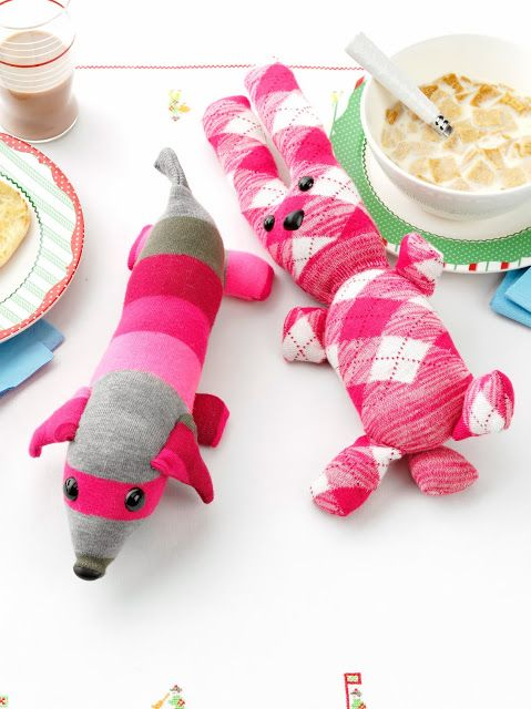 Cuddly Stuffed Sock Dog and Bunny #diy #Christmas #handmade #gift