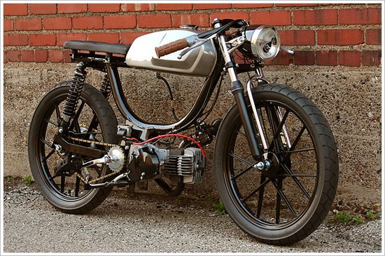 """Revdub's Puch Moped - """"GeneralMayhem"""" - Pipeburn - Purveyors of Classic Motorcycles, Cafe Racers & Custom motorbikes.Nicely done and very cool!"""