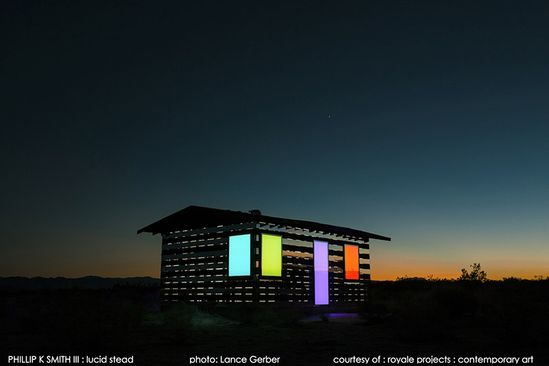 Artist Phillip K. Smith converted this 70-year-old cabin into a light installation by installing alternating mirrors to make it appear transparent. At night the piece is lit from inside.  See many more photos at the link:  www.thisiscolossa...