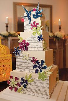 Modern, square tier wedding cake with flowers and swallows. #weddingcakes #weddings  Cake by Take the Cake